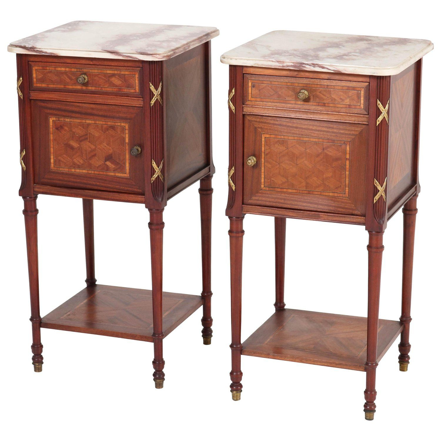 Pair of French Louis XV Style Mahogany Nightstands or