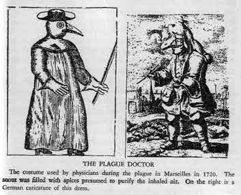 The Plague doctor illustration is from Devils, Drugs & Doctors (Haggard, 1929). It depicts the protective clothing used by doctors treating the plague in Marseilles c1720. The beak was filled with spices to purify the inhaled air. At the time it was believed that plague was contagious by touch, hence the leather gloves and wand.