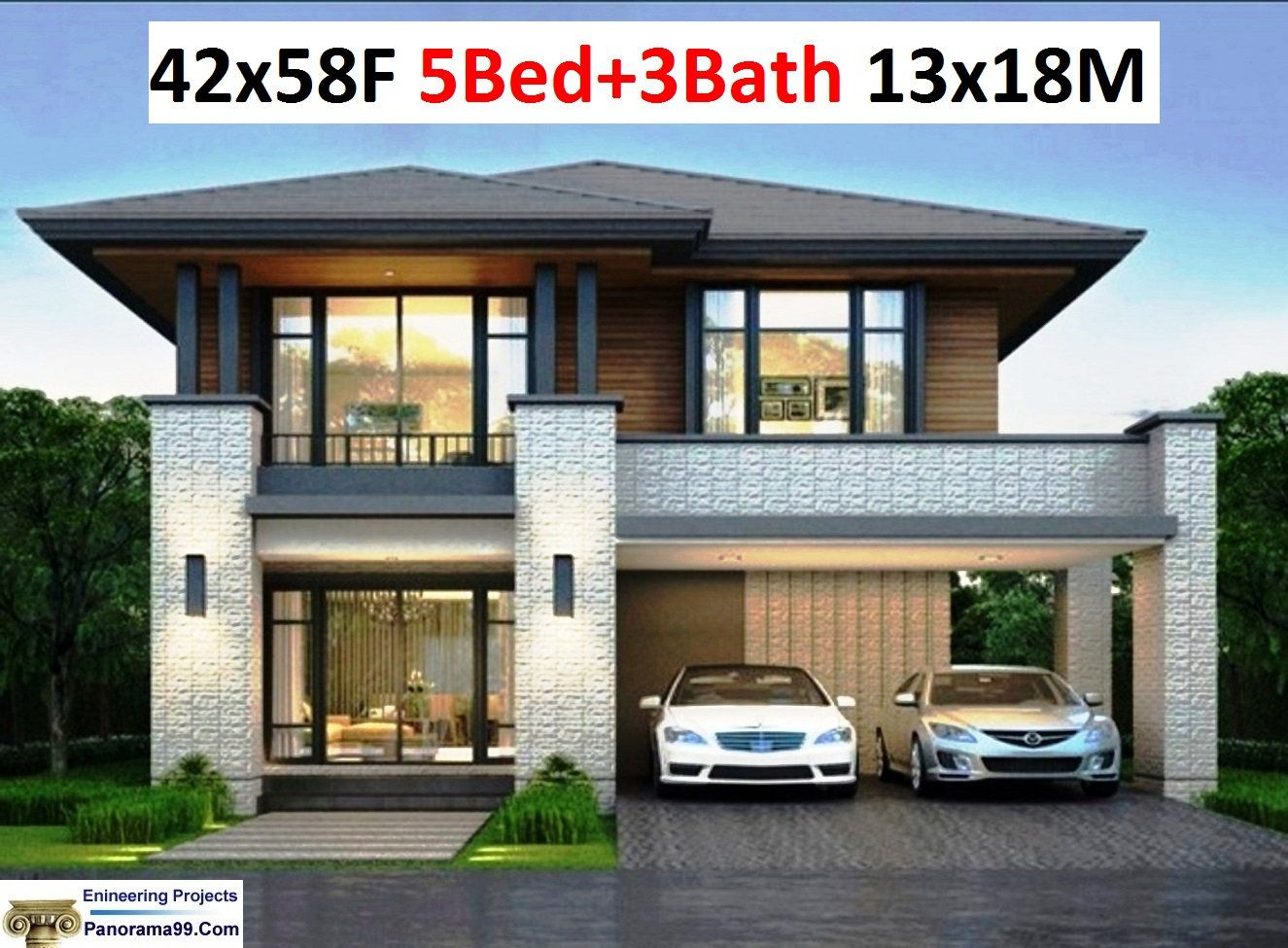 V 384 Two storey House plans Custom 5 Bedroom with 3 Bathroom