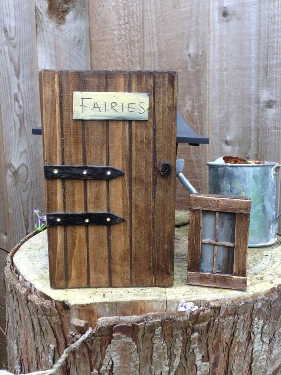 Handmade Wooden Fairy Fairies Door & Window Set for …