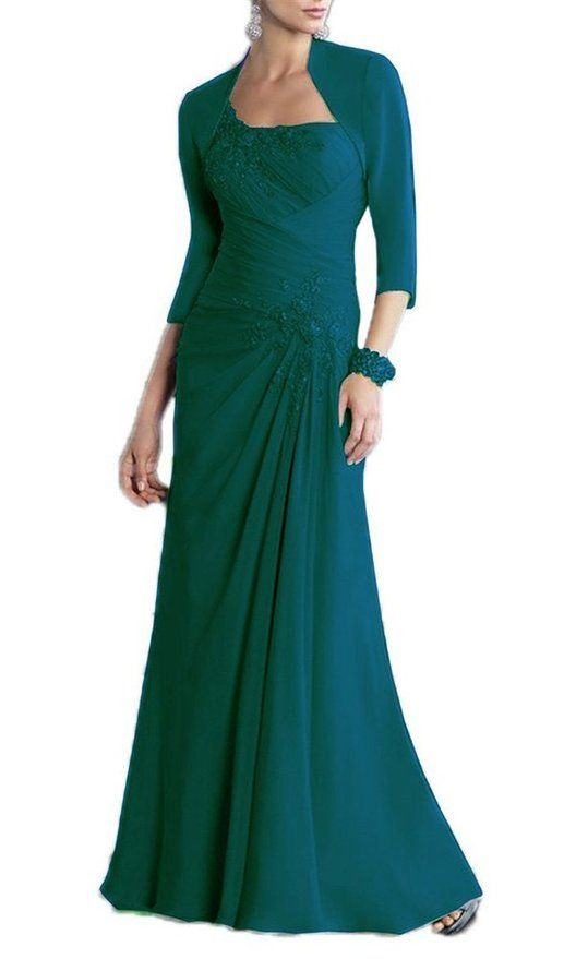 LanierWedding Plus Size Mother of the Bride Dresses With Jacket Teal Size 2
