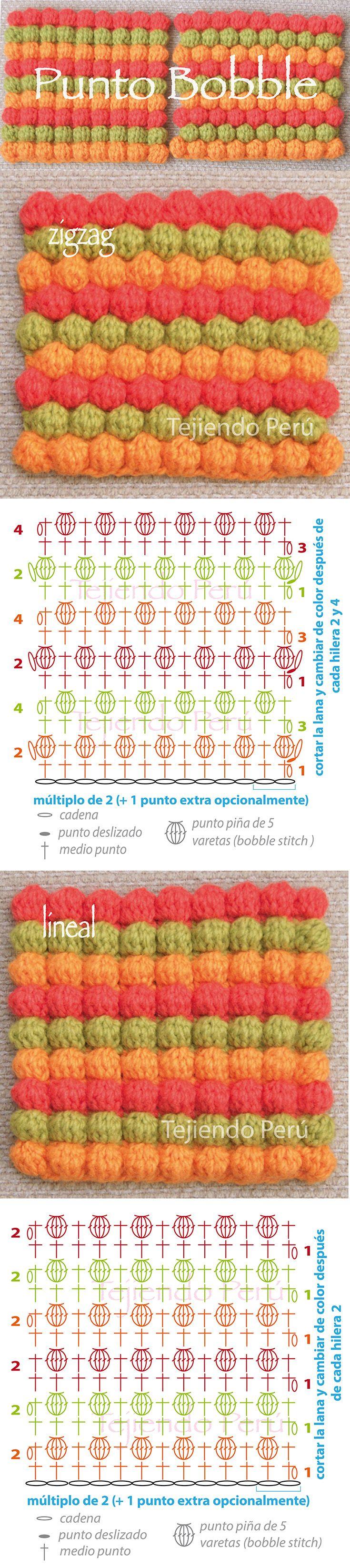 Punto bobble tejido a crochet en zigzag y en forma lineal (diagramas ...