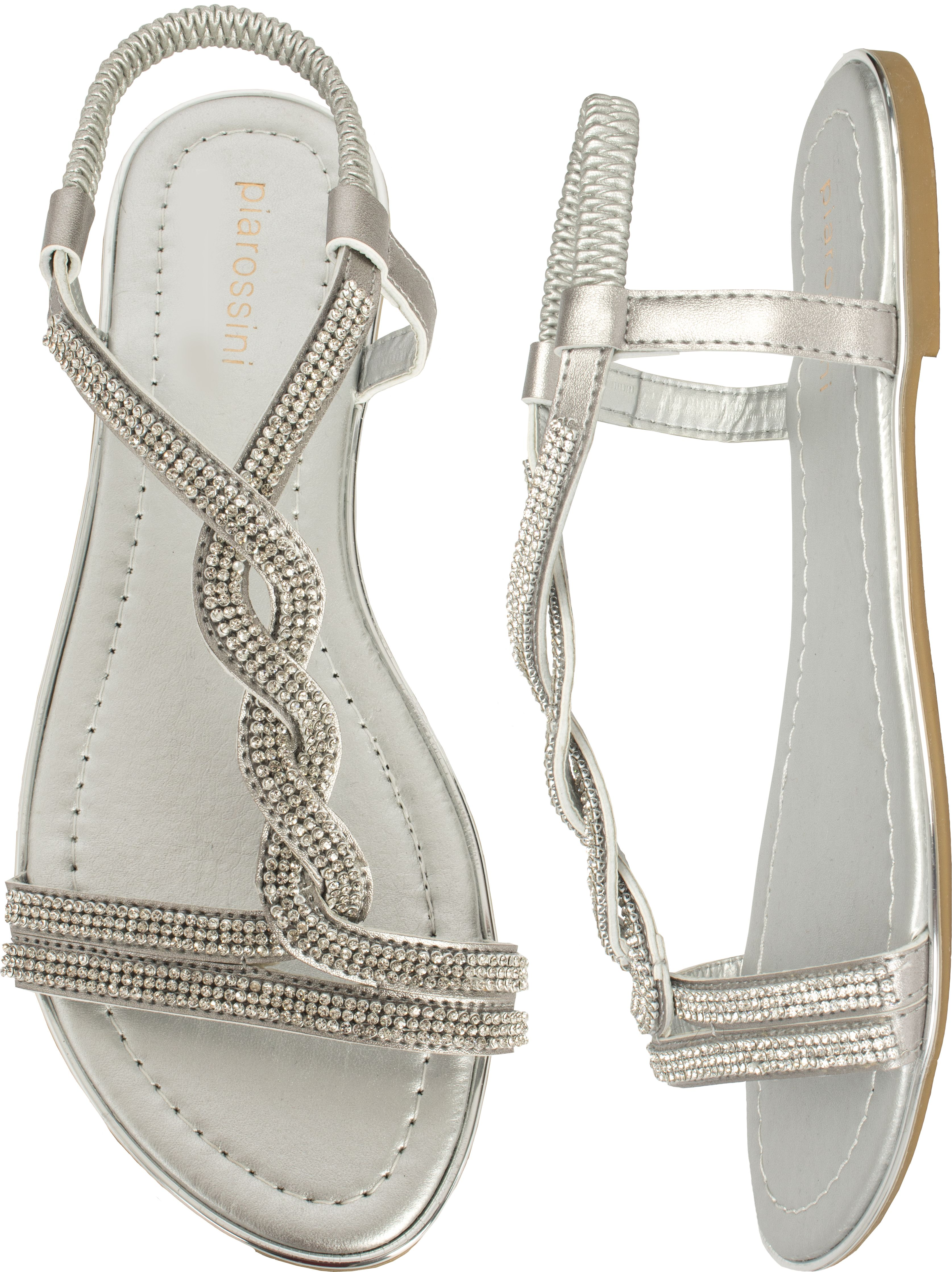 Sandals shoes holidays - Pia Rossini Summer Beach Holiday Sandals Nero Silver
