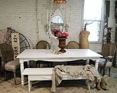 RESERVEBILLPainted Cottage Chic Shabby Romantic White Dining Table TBL251    want this!