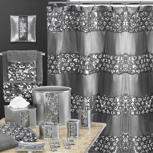 Sinatra Bathroom Accessories Collection Silver Shower Curtain