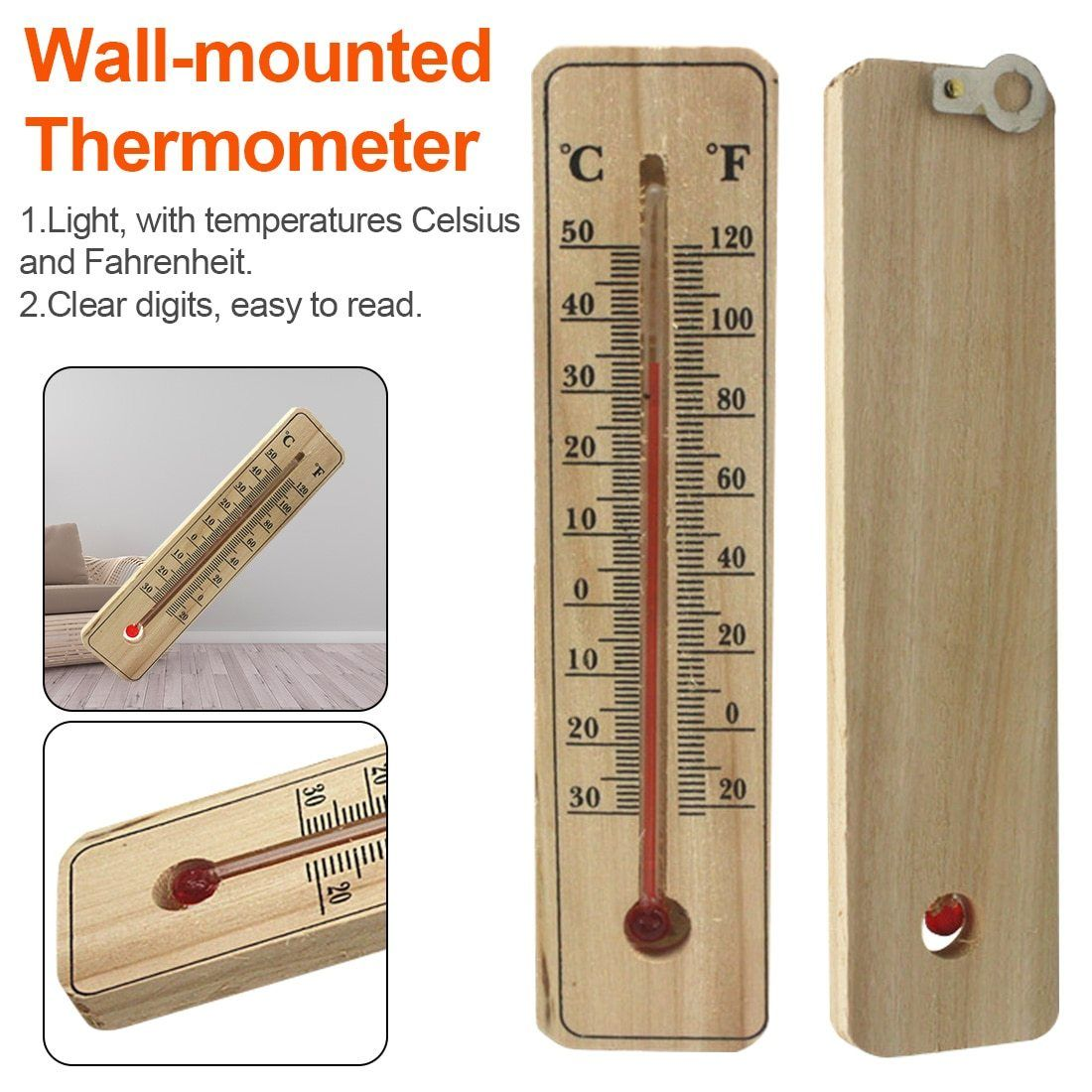 THERMOMETER WALL MOUNTED HOME GARDEN GARAGE INDOOR OUTDOOR