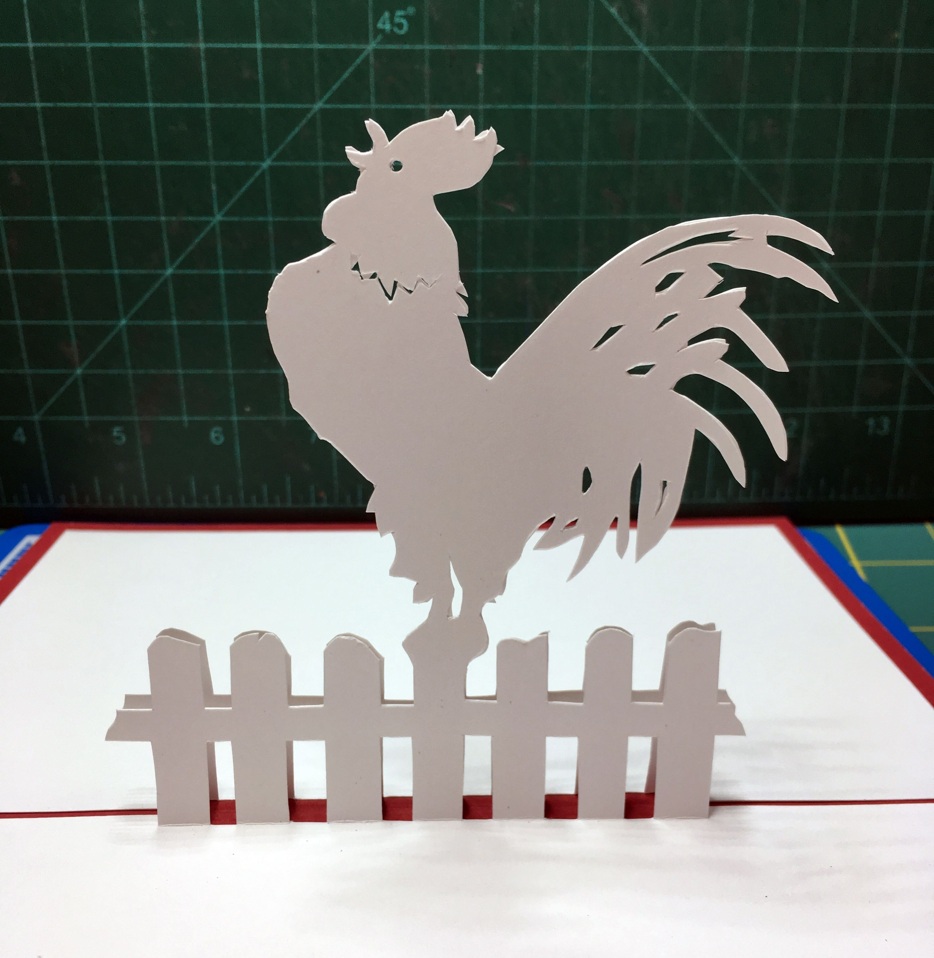 Rooster pop up card template from cahier de kirigami 8 for Kirigami christmas card