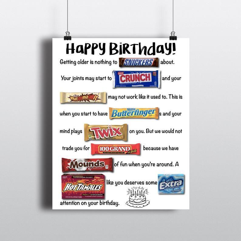 Birthday Party Candy Board Funny Birthday Board Bi
