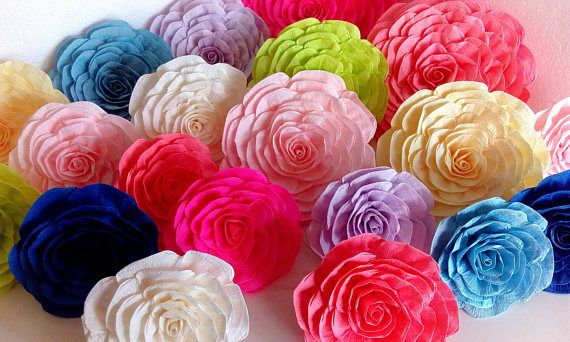 12 Large Giant Crepe Paper Flower Rainbow Unicorn Wall Arch Decor