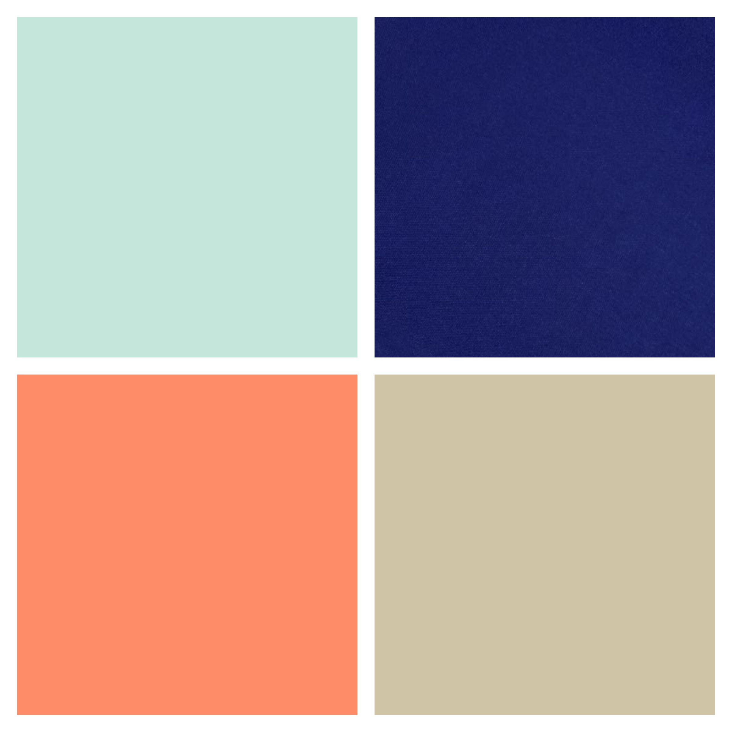 Color palette for gender neutral, boy / girl nursery. Mint