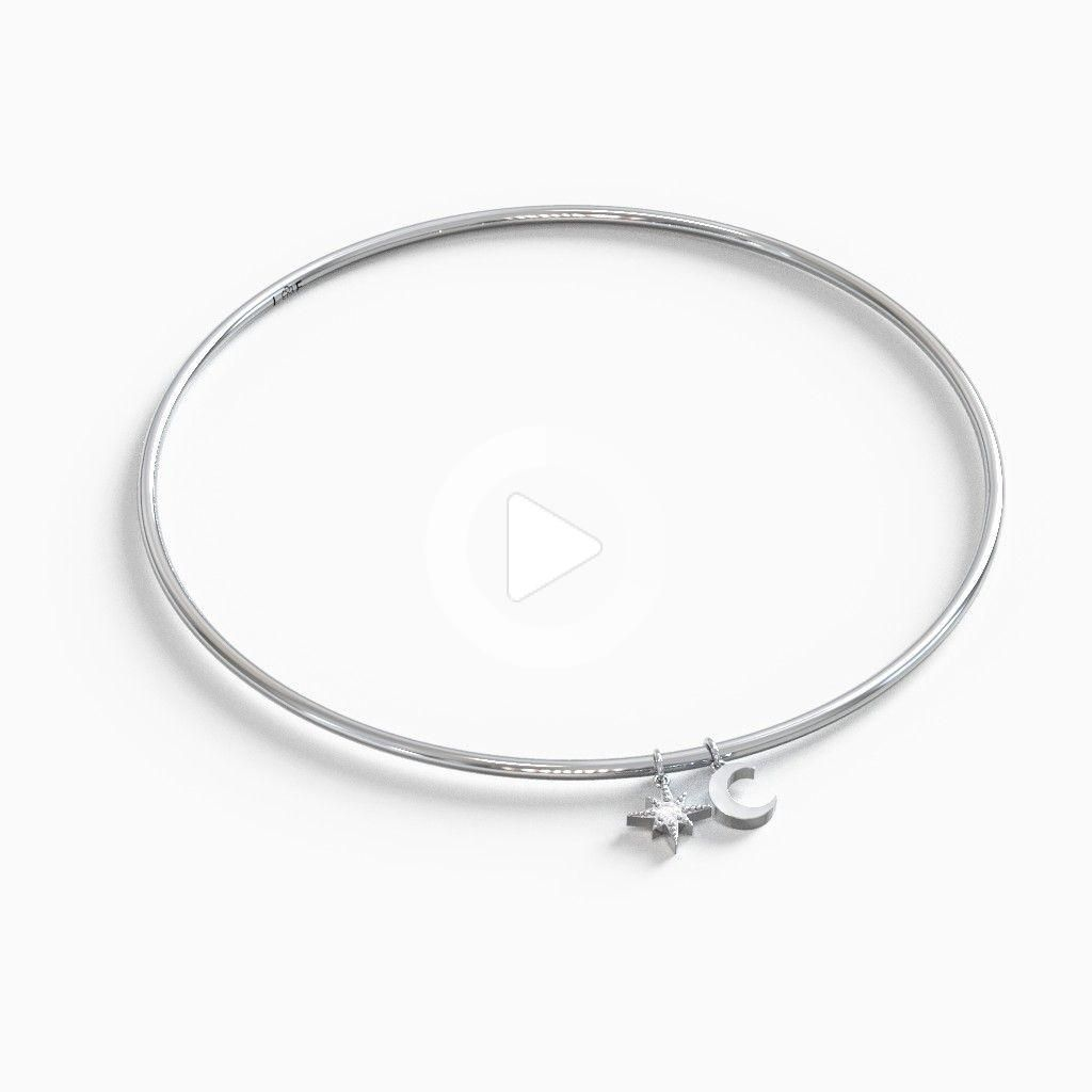 Classic Bangle Bracelet with Moon and Star Charm