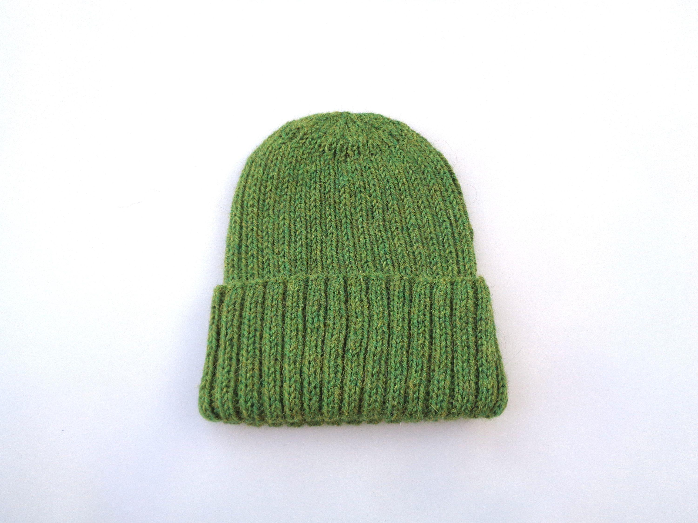 Hand Knit Hat Women-Green Hat Women-Wool Beanie Hat-Warm Wool Winter Hat