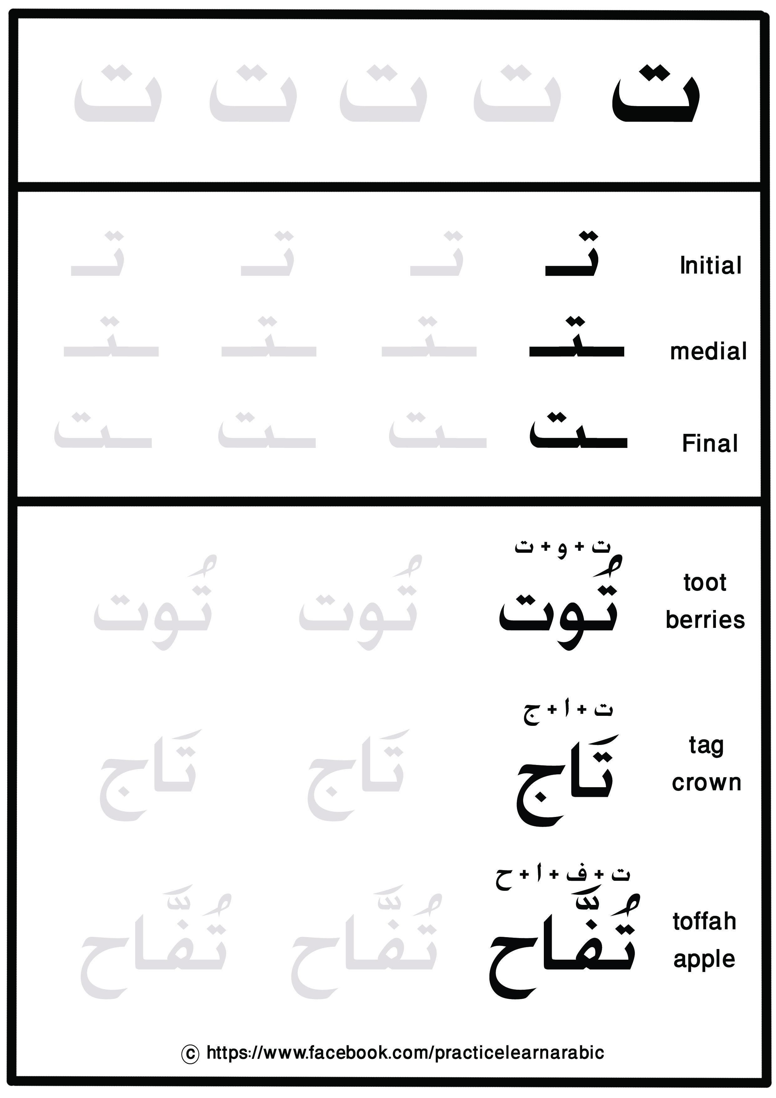Learn Arabic Letters And New Words حرف التاء Arabic Alphabet For Kids Arabic Handwriting Learn Arabic Alphabet