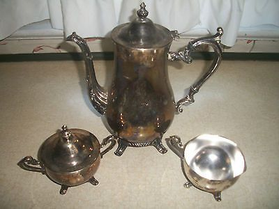VINTAGE W.M. ROGERS SILVERPLATE TEA SET TEA POT SUGAR BOWL CREAMER W ...