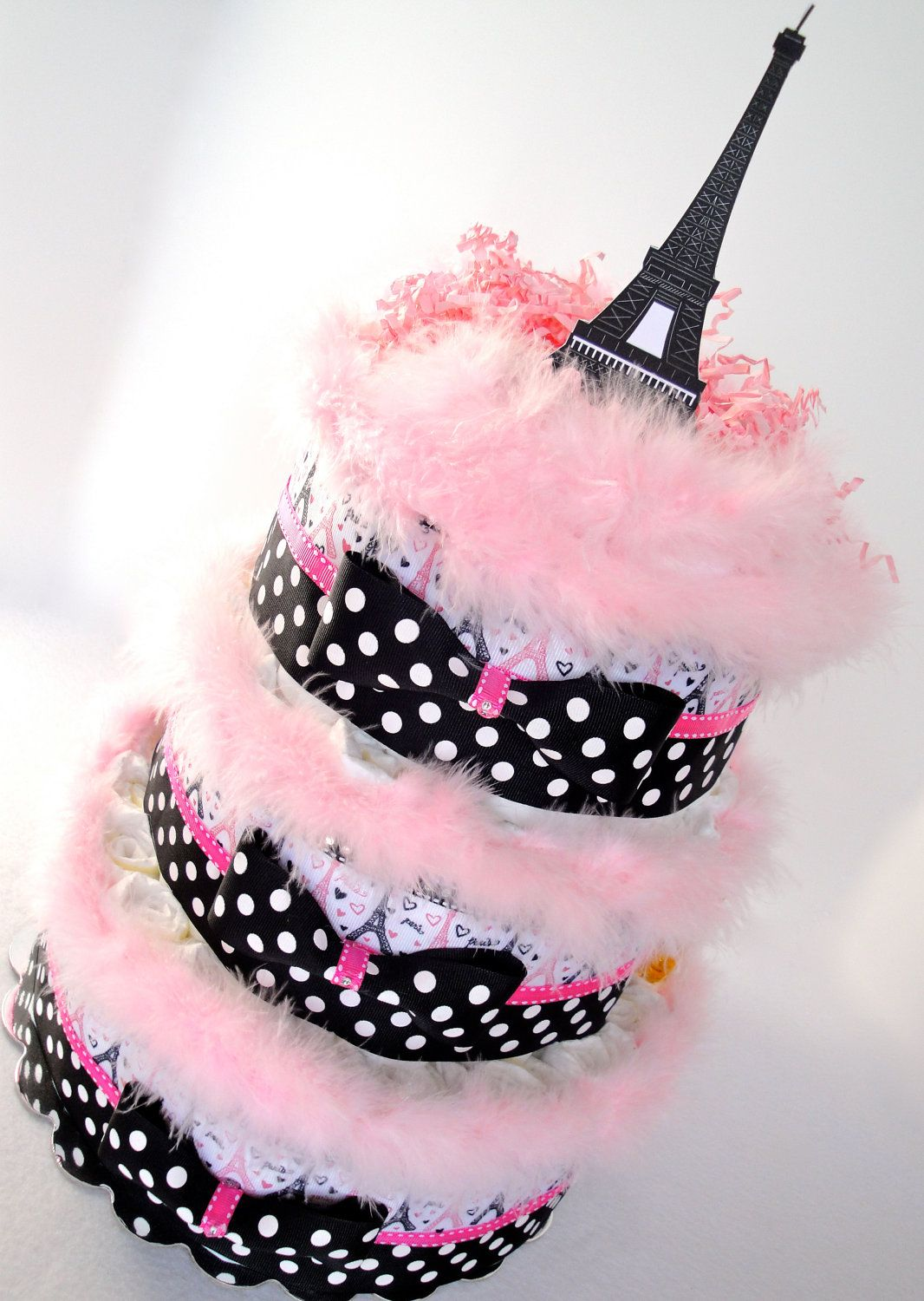 Diaper Cake - Eiffel Tower Paris Pink & Black