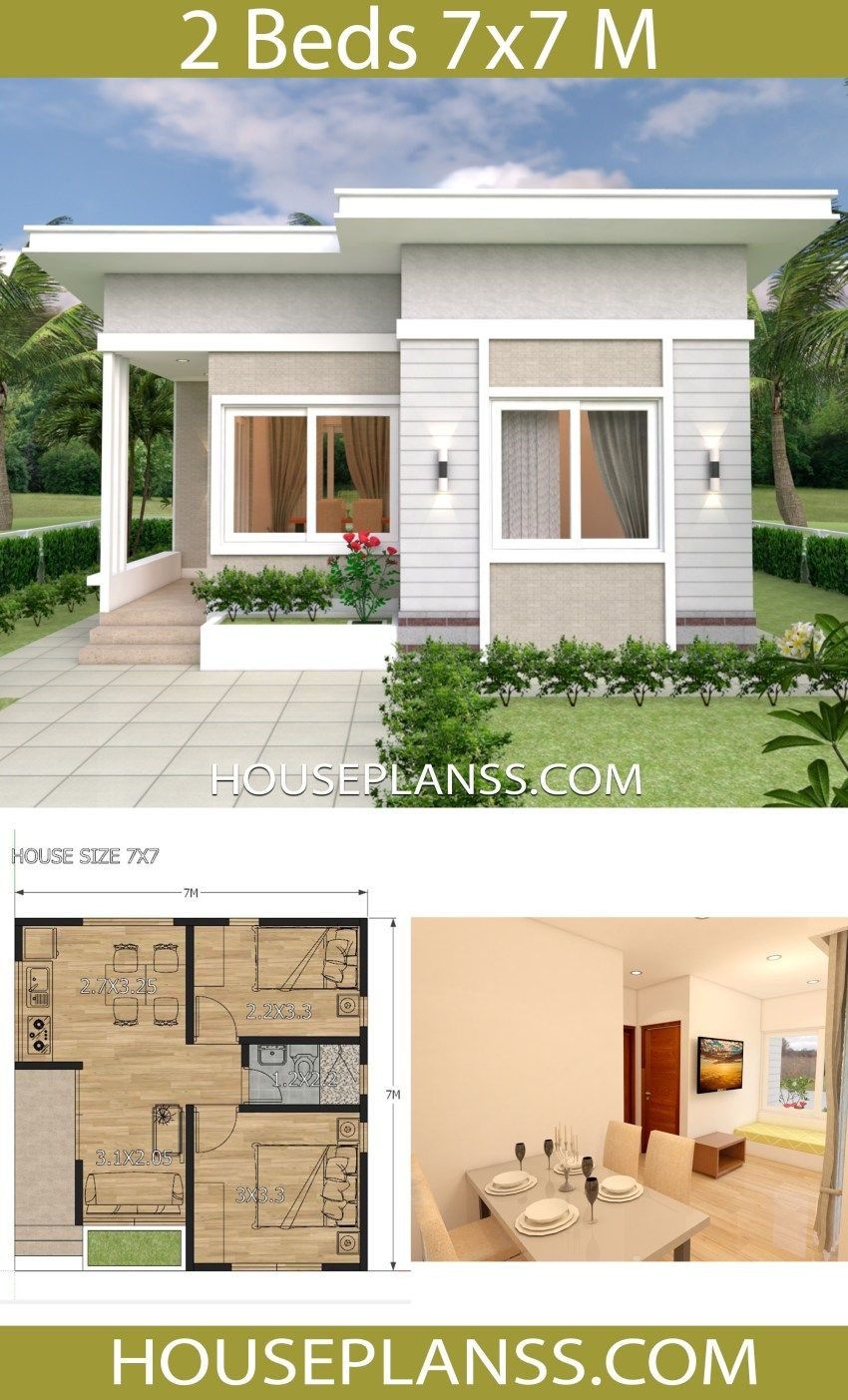 Small House Design Plans 7x7 With 2 Bedrooms House Plans 3d Small House Design Plans Small House Exteriors Small House Design