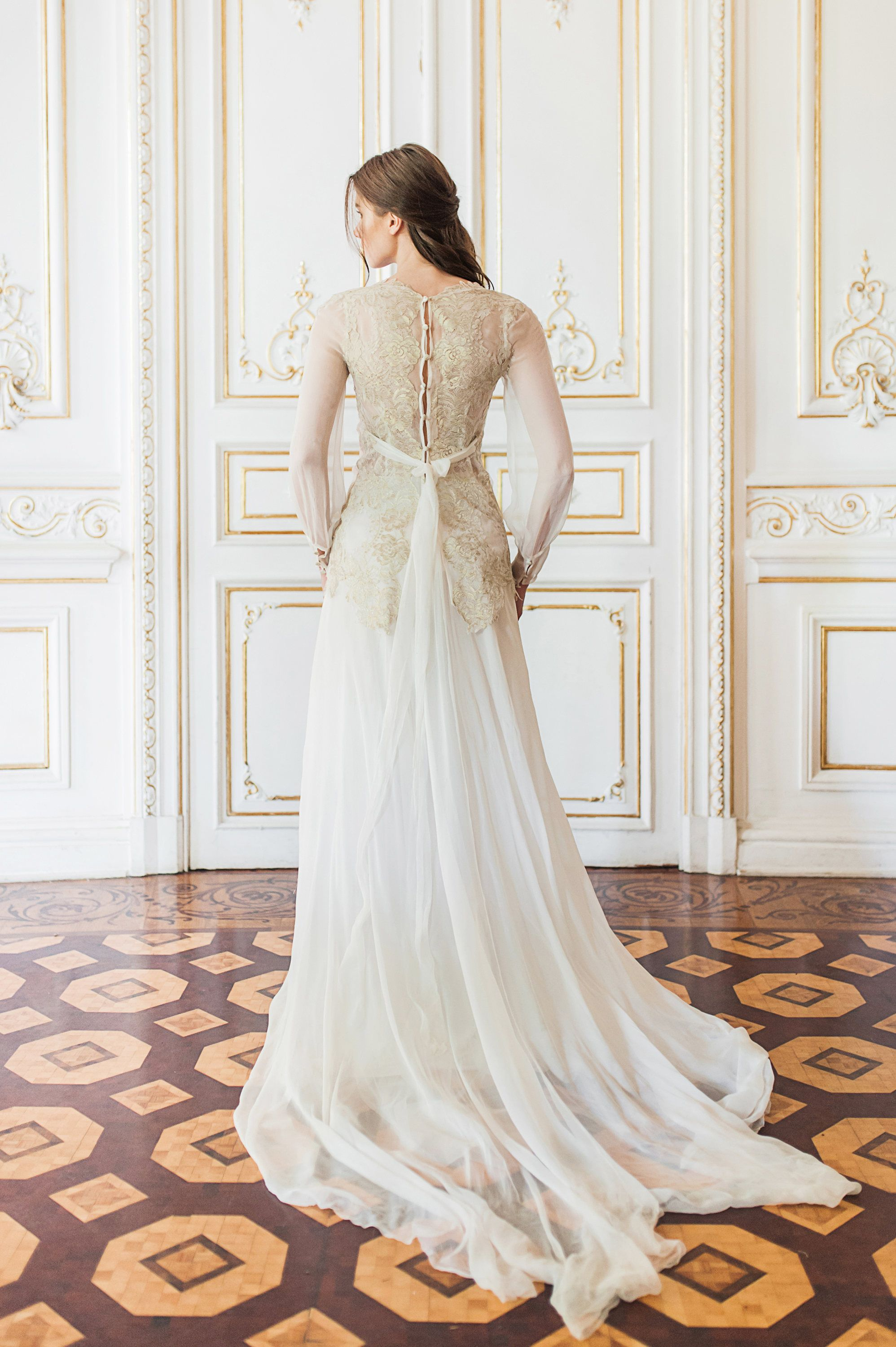 eaab663d718cc Bishop sleeve wedding gown with gold lace bodice // Coligny wedding dress  by CathyTelle on Etsy