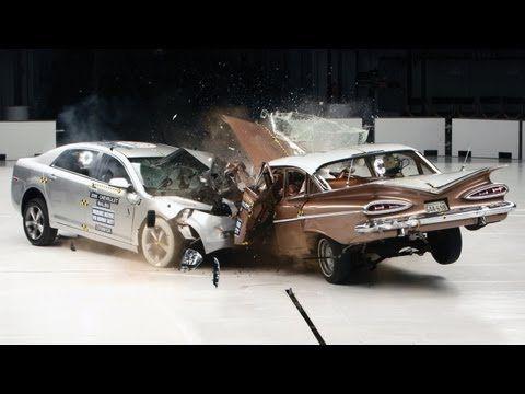 Crash test old vs. new car