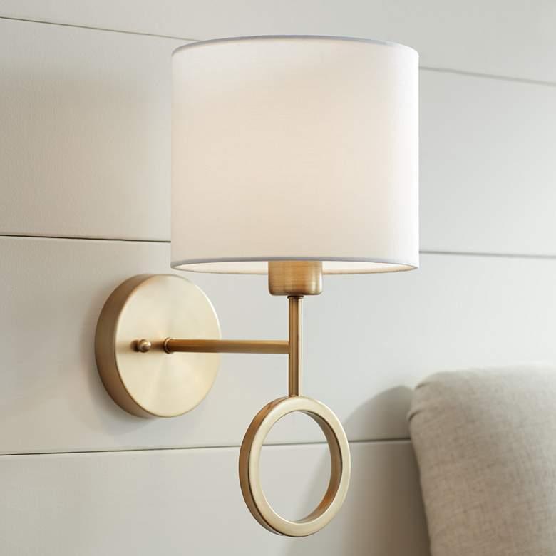 Amidon Warm Brass Drop Ring Hardwire Wall Lamp 63t56 Lamps Plus In 2020 Plug In Wall Lamp Wall Lamp Wall Lamp Design