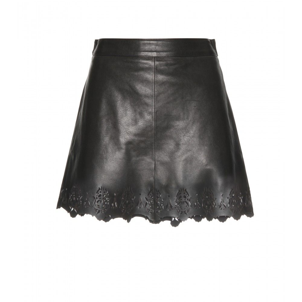 Rag PARIS LEATHER SKIRT WITH CUT-OUT DETAIL