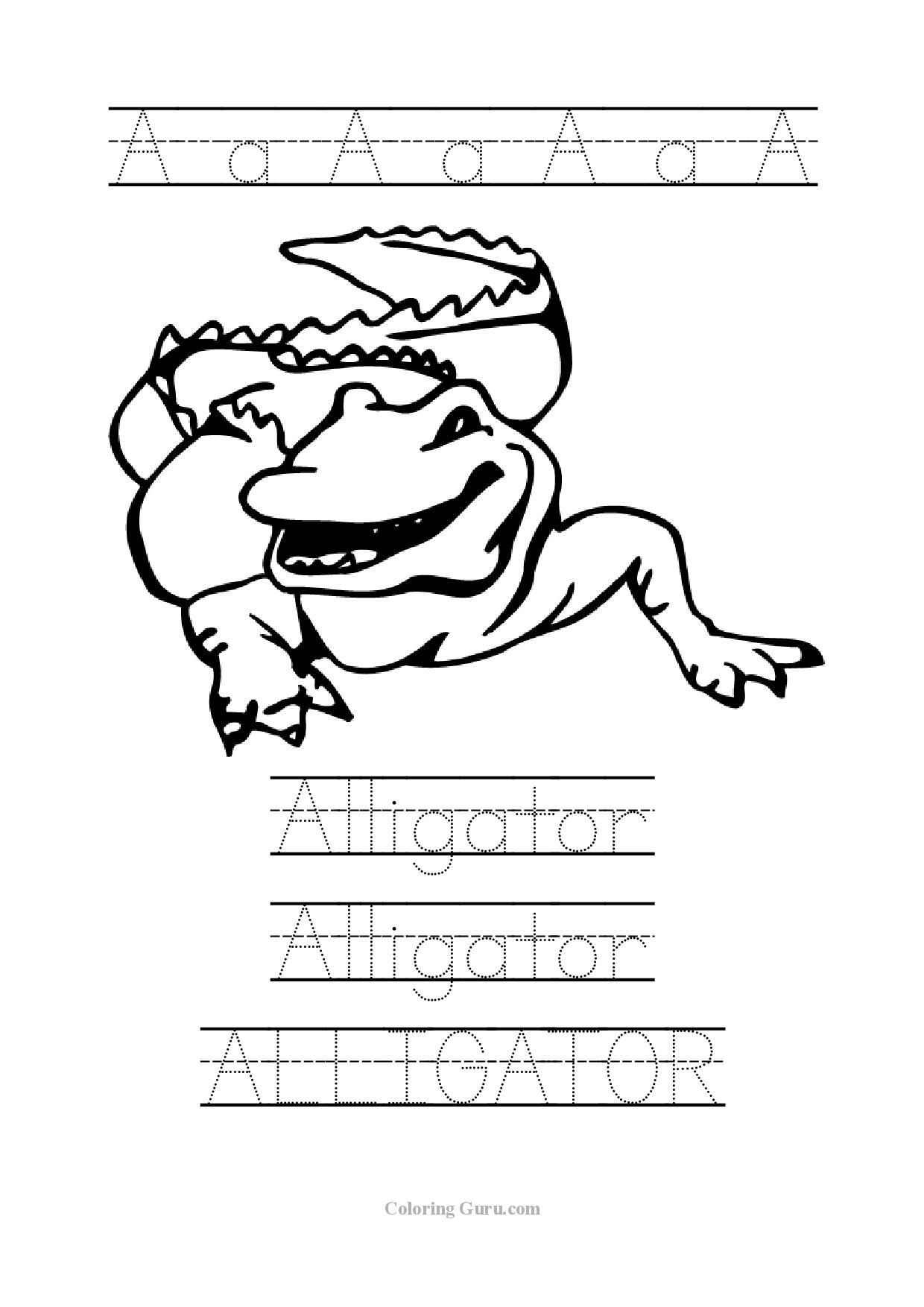 Tracing Word Alligator Worksheets For Preschool