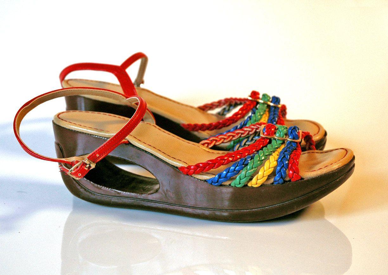 38bb27bdf Vintage Yo-Yo s 1980s Strappy Sandals Braided Non-Leather Summer Women s  Shoes.  34.00