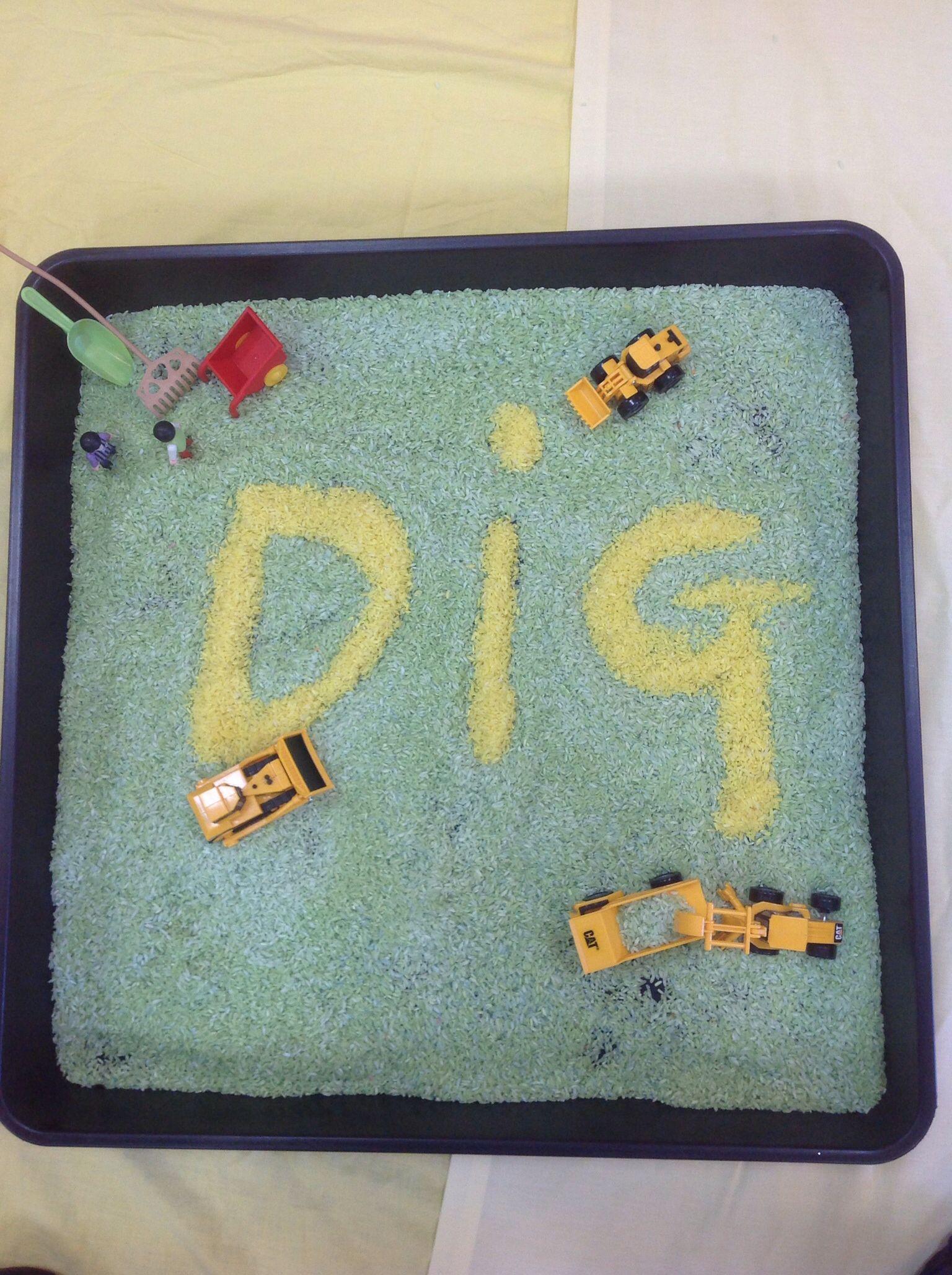 Construction themed preschool sensory play activities: Coloured rice ...