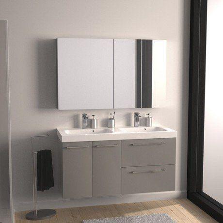 Salle de bain] Meuble de salle de bains Remix gris galet n°3 121x48 ...