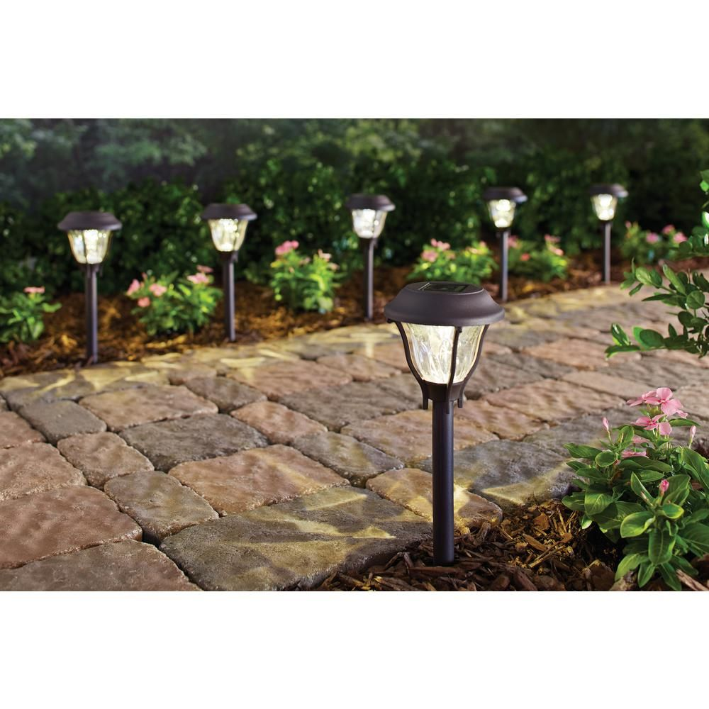 Hampton Bay Solar Bronze Outdoor Integrated Led Landscape Path Light With Water Patterned Lens 6 Pack Nxt 7 In 2020 Solar Pathway Lights Hampton Bay Outdoor Lighting