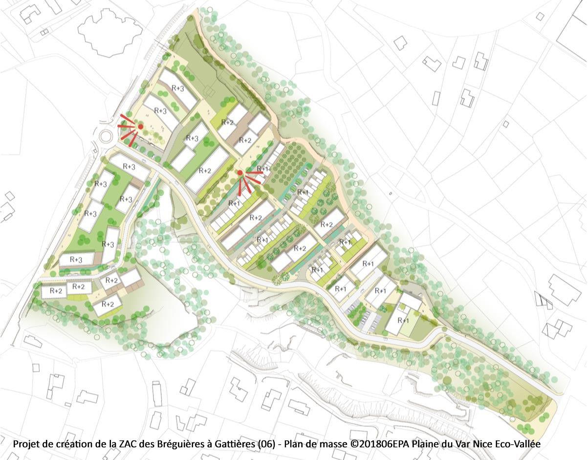 Projet de création de la ZAC des Bréguières à Gattières (06) - Plan de masse ©201806EPA Plaine du Var Nice Eco-Vallée