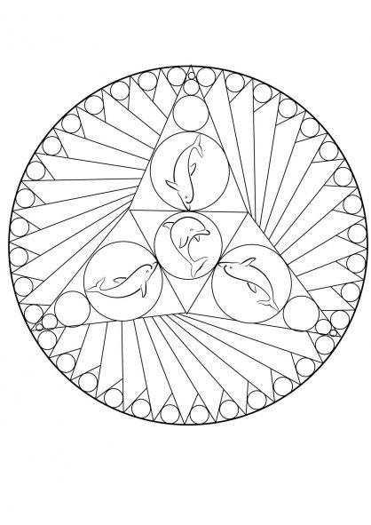 Coloriage mandala dauphin anniversaire dauphin - Mandala anniversaire ...