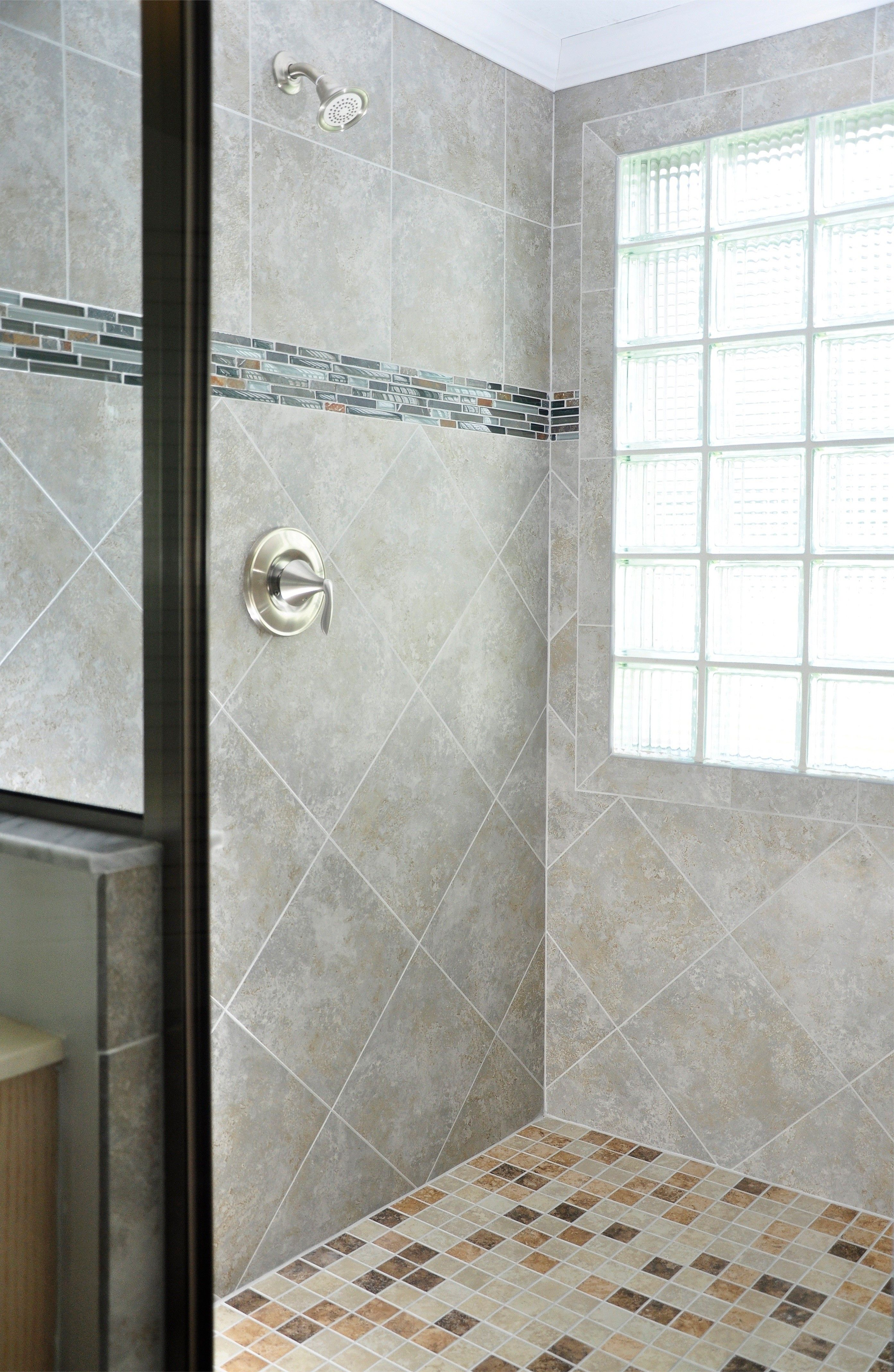 Shower Tile Combination Ideas  Blue Rectangular Stripe, Greige Neutral