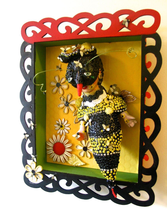 Queen BEE Mosaic art doll sculpture shadow box wall art Fantasy art ...