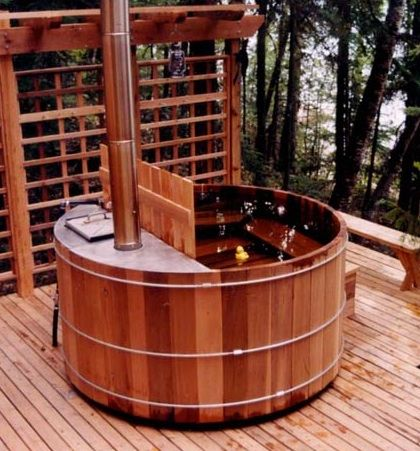 Wood Fired Hot Tubs Bus Conversion Outdoor Bathtub