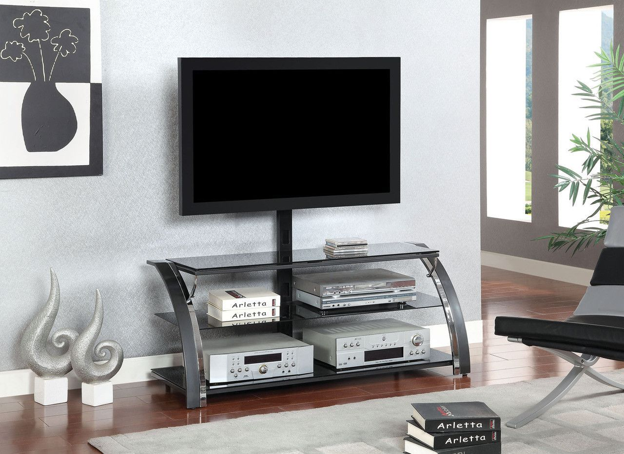 TV Stand CM5002-TVSURTELLA sleek gun metal and chrome finish makes this handsome TV stand the perfect match for a contemporary room.  Sale for $195