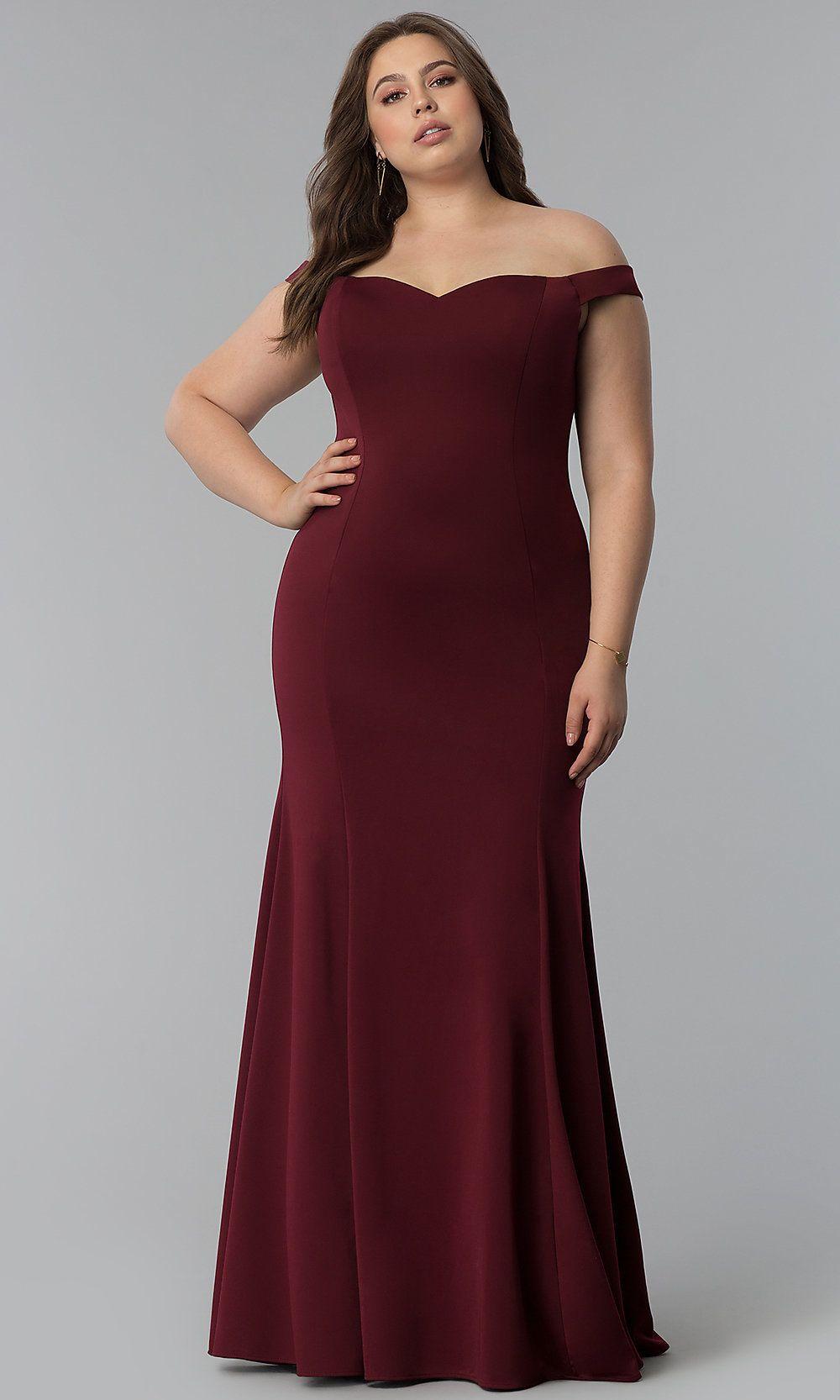 1adaece845e Long Plus-Size Off-the-Shoulder Sweetheart Prom Dress