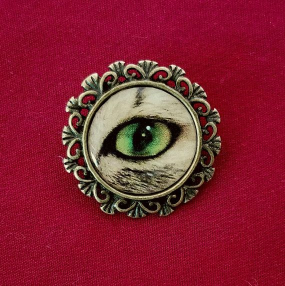 Cat's Eye Brooch (Green), Handmade, Antique Bronze, Kitsch, Victorian, Crazy Cat Lady Pin (Customs Available) $10.00