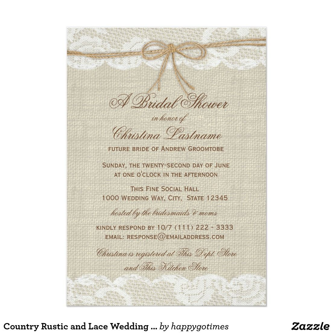 Rustic country burlap string lights lace wedding card - Country Rustic And Lace Wedding Bridal Shower Card