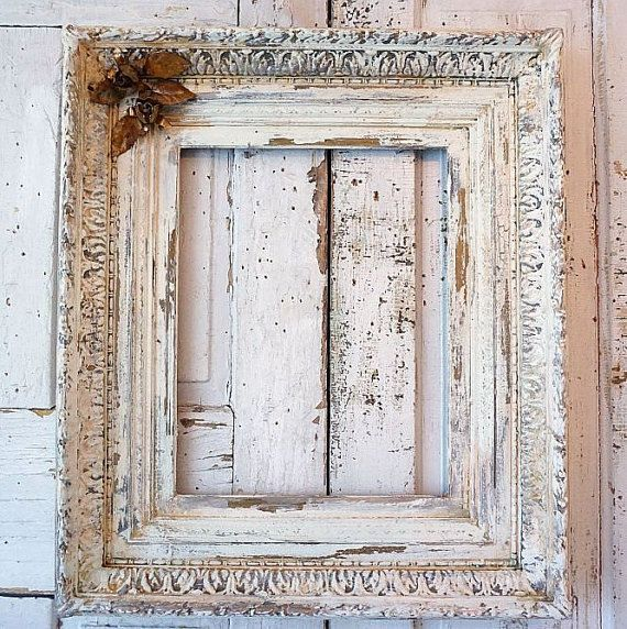 White picture frame shabby chic wall hanging thick wood French ...