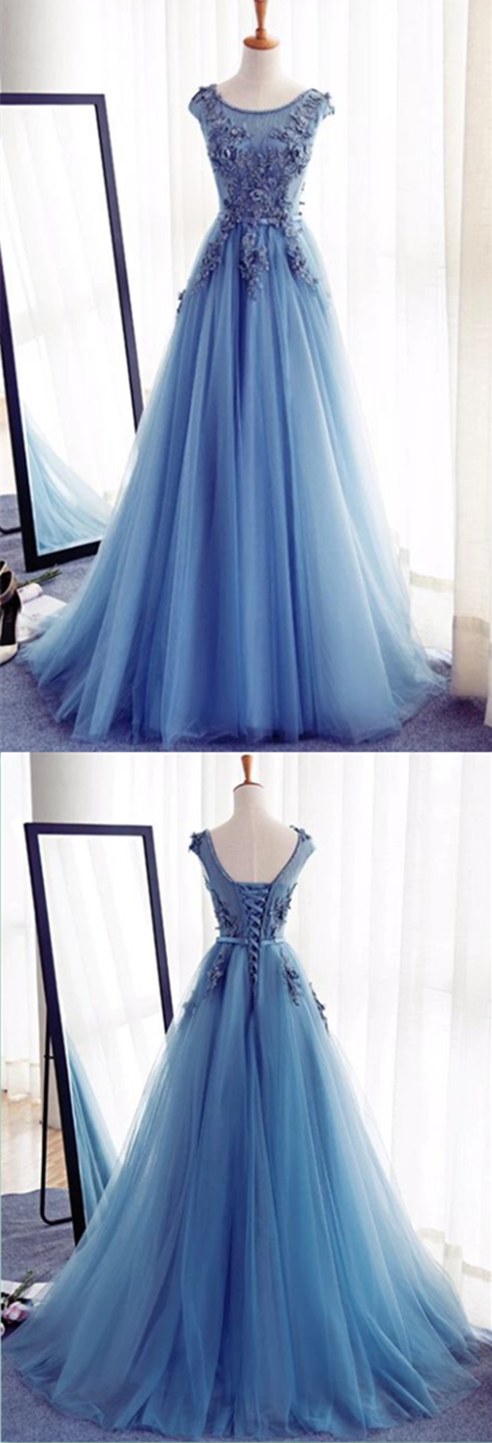 Charming Tulle Handmade Prom Dress,Long Prom Dresses,Prom Dresses ...