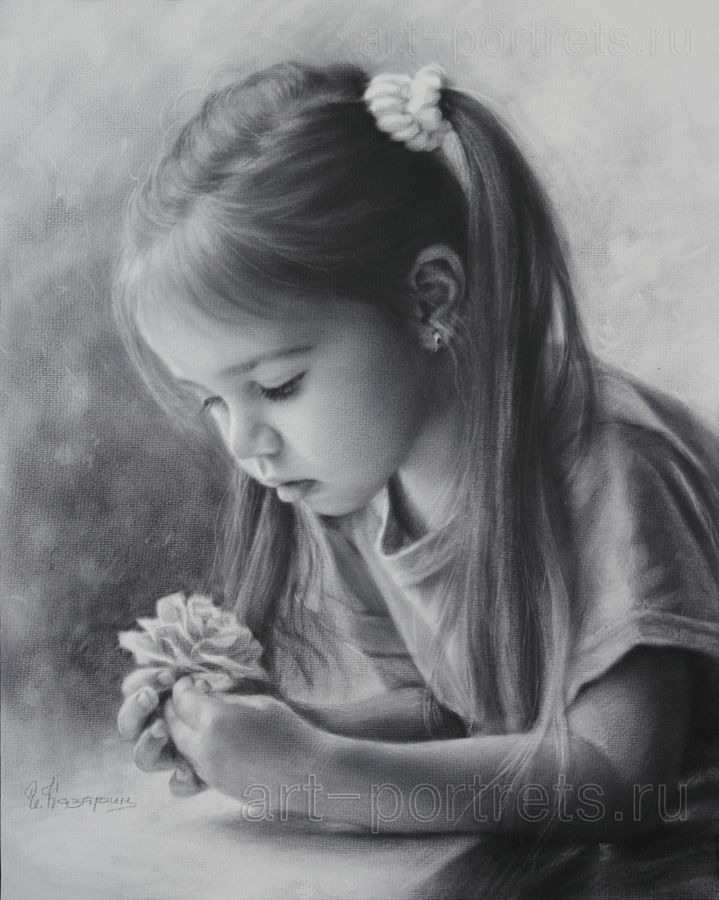 Drawing little girl with a flower by dry brush 2015 igor kazarin