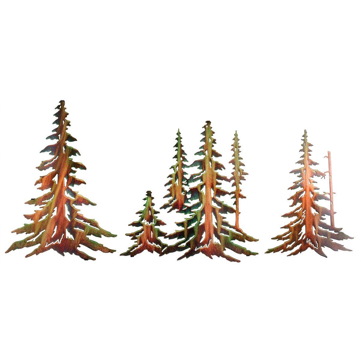 Pine Tree Metal Wall Art 3 Pcs Metal Tree Wall Art Metal Tree