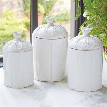 Bird White Ceramic Kitchen Canister Set | Kitchenware in ...