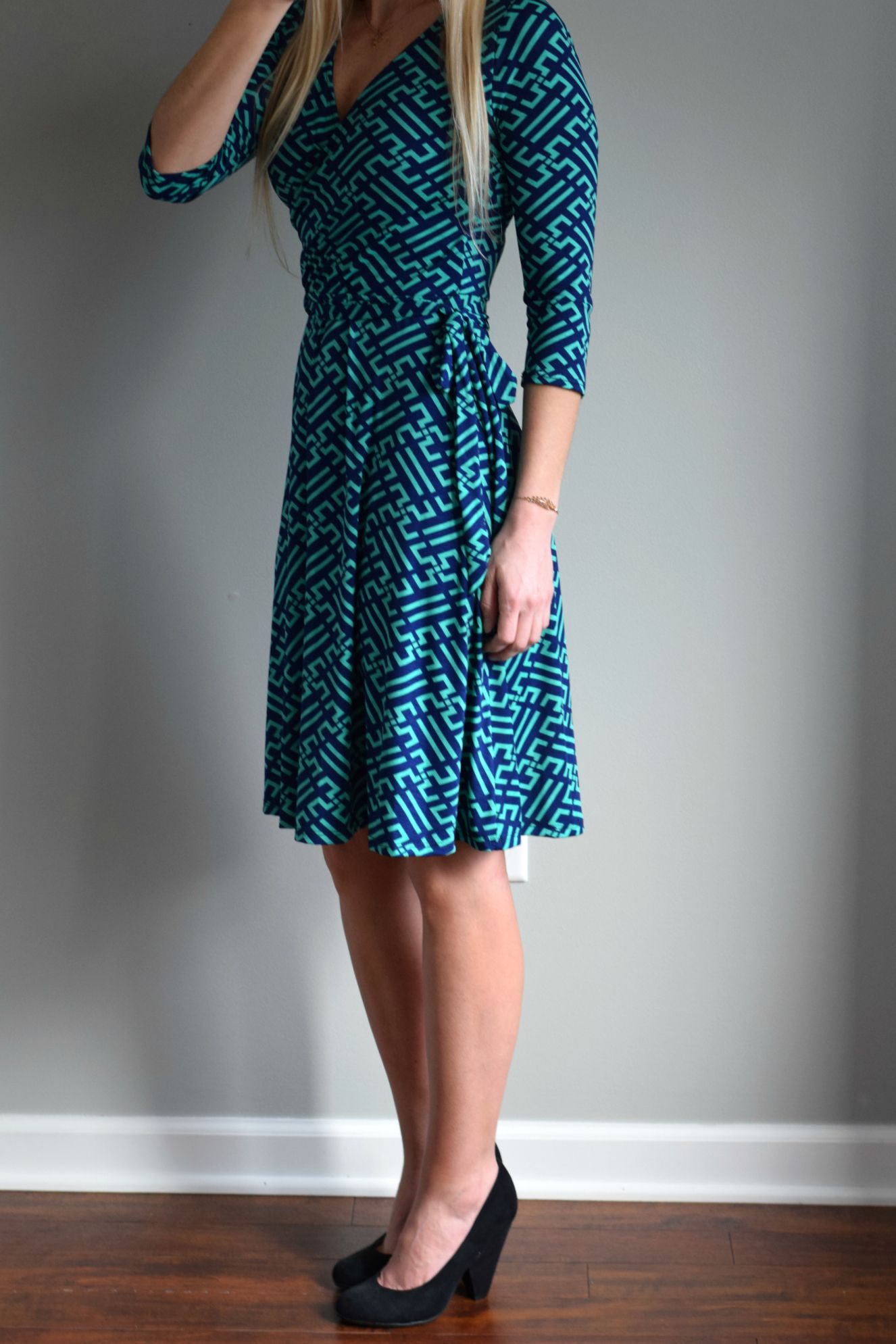 hawthorn renesme graphic print faux wrap dress not sure if this