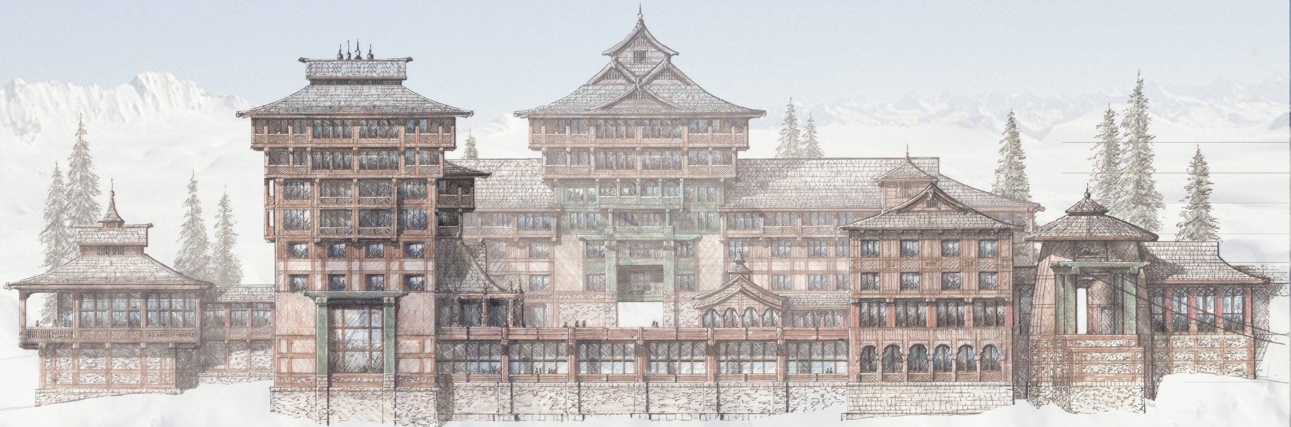 Himalayan Ski Village Concept Jpg 2520 835 Architectural Sketch Skiing Big Ben