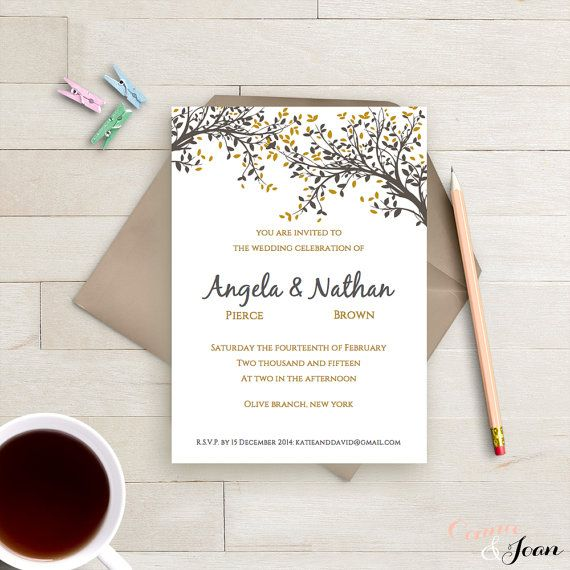 DIY Printable Wedding Invitation Template Black and Gold Leaves - microsoft word template invitation