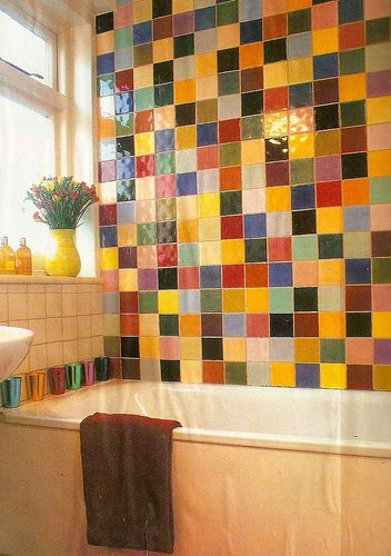 Bathroom With A Wall Tiled In Bunch Of Colorslove this!!! Casa