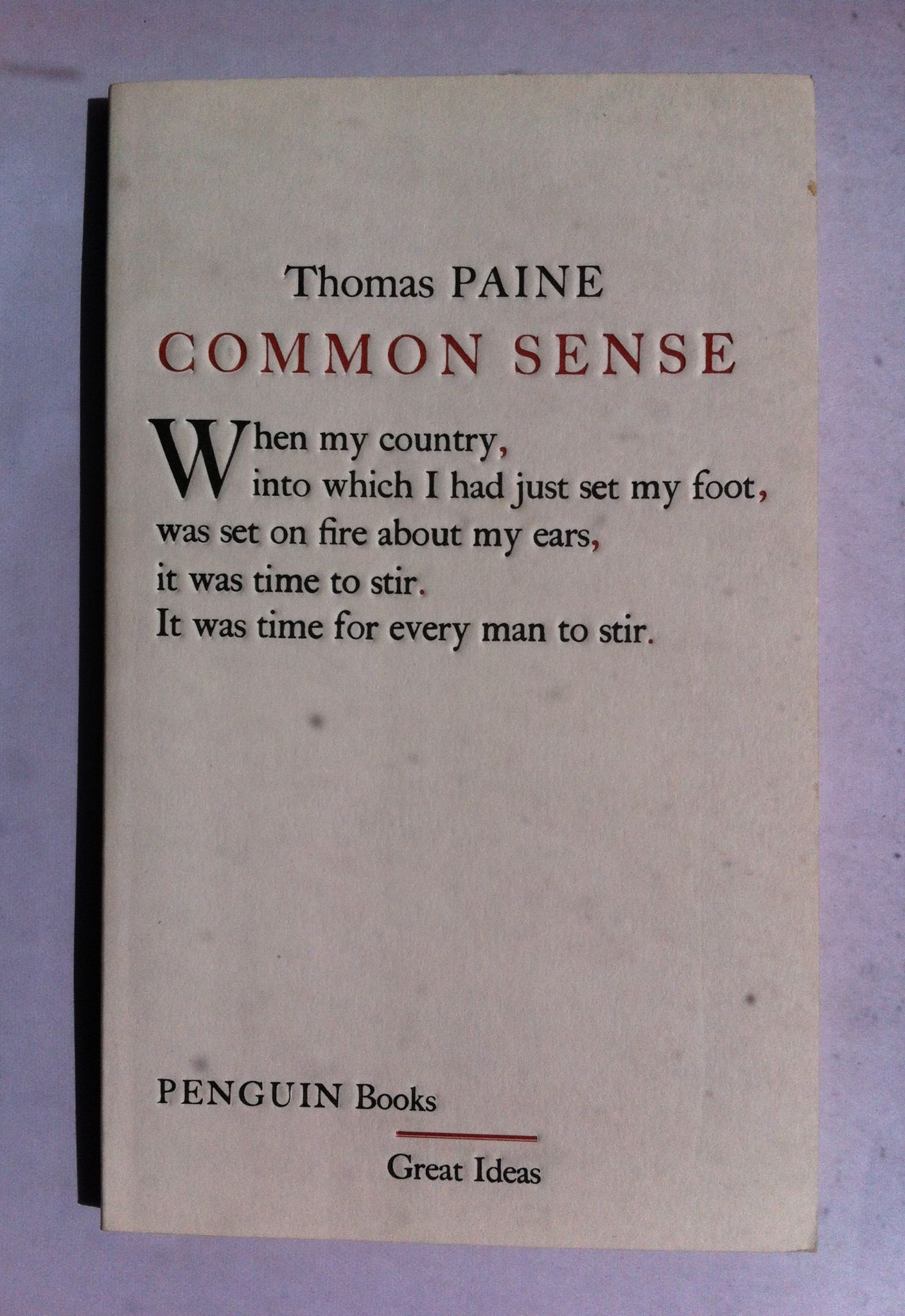 Common Sense By Thomas Paine Published By Penguin The