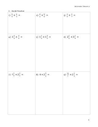 Latihan Pecahan Tahun 6 Operasi Darab Bahagi Mathematics Tutor Private Tutors