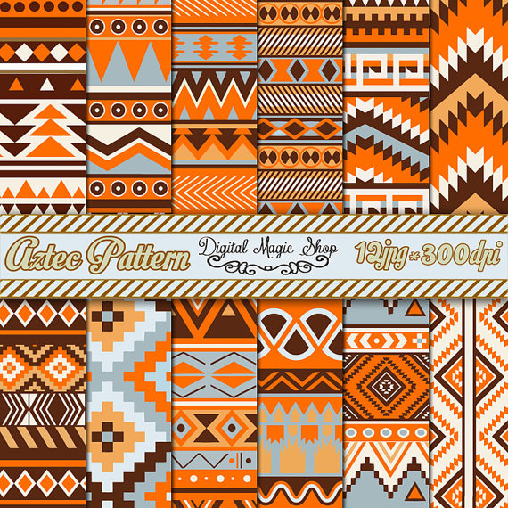 12 Orange braun grau Azteken Muster Digital Paper, Ikat